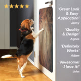 dog jumping on door scratch protector with testimonials
