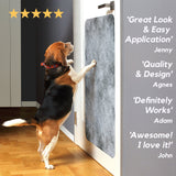 dog jumping on door scratch protector with customer testimonials