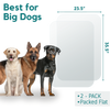 graphic showing measurements of the 2-pack dog door guard set