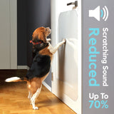graphic showing dog jumping on door scratch protector with text