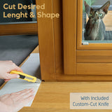 graphic of pet parent cutting down scratch protector for door