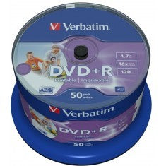 DVD+R 4.7GB Verbatim 16x Inkjet white Full Surface 50er Cakebox