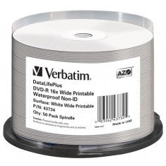 DVD-R 4.7GB Verbatim 16x Inkjet white Full Surface Glossy Waterproof 50er Cakebox