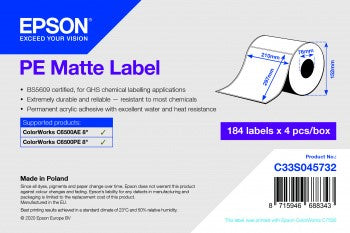 PE Matte Label - Die-cut Roll: 210mm x 297mm, 184 labels