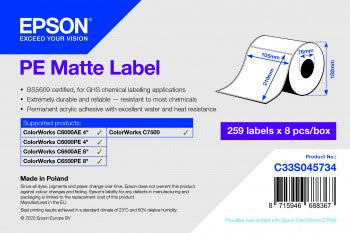 PE Matte Label - Die-cut Roll: 105mm x 210mm, 259 labels