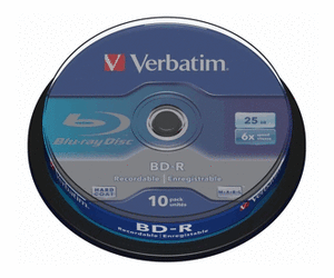 Verbatim Blu-Ray Rohlinge BD-R 25GB (1-6x) in 10er Cakebox