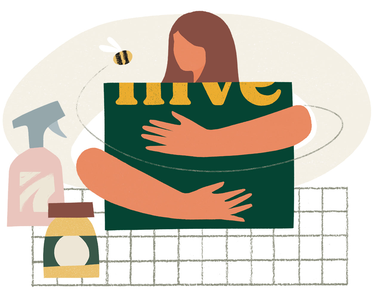 Illustration of woman hugging Hive box with products