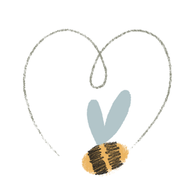 Illustration of a bee buzzing in a heart-shaped pattern