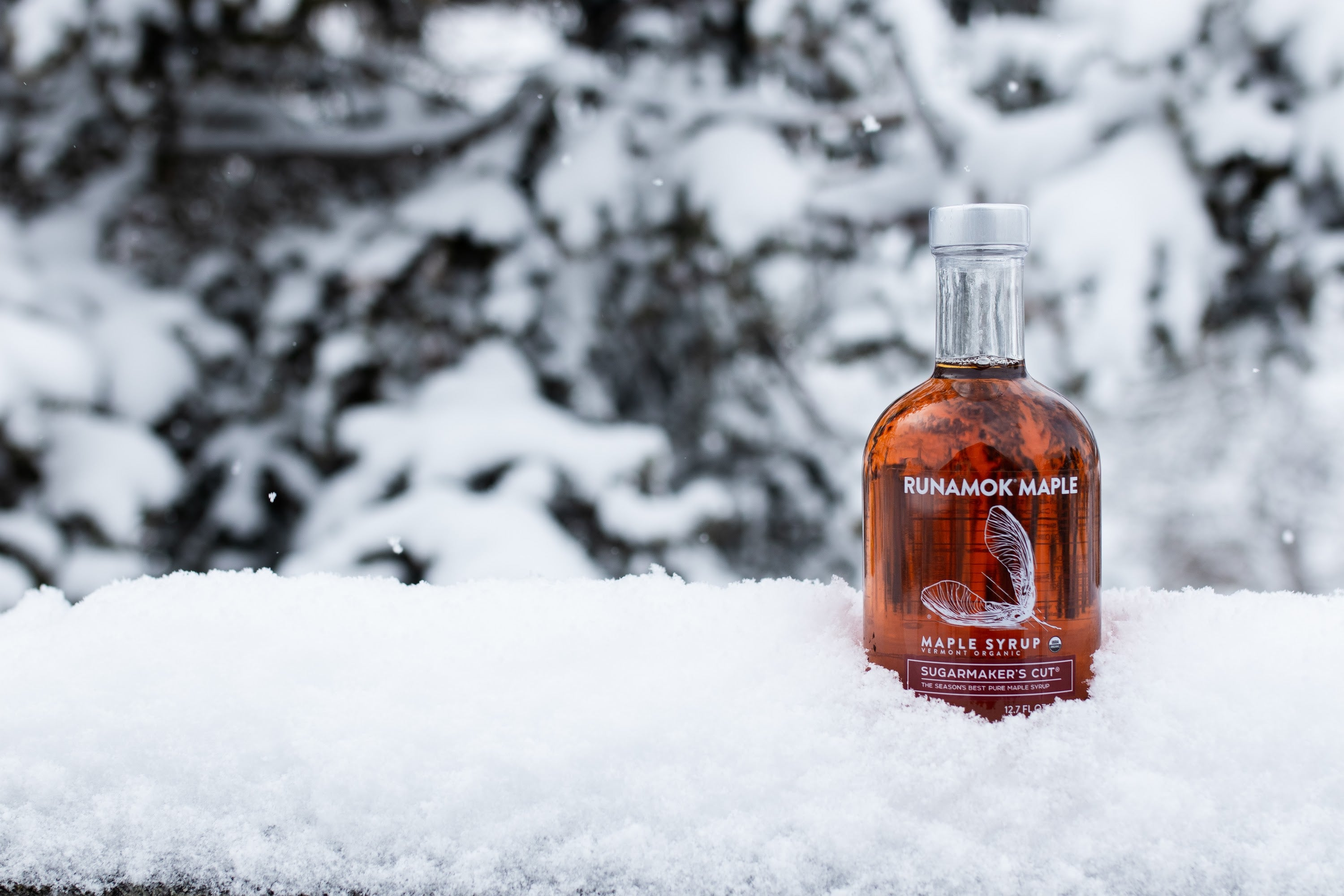 Runamok Maple Sugarmaker's Cut Maple Syrup in snow