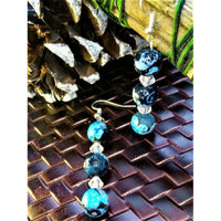 Malachite Dangling Earrings with Clear Glass Accents