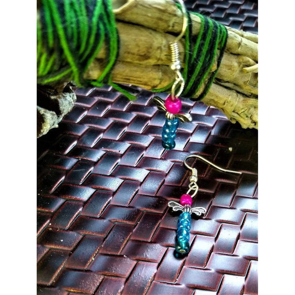 Purple, blue, and green dragonfly beaded earrings