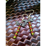 Red and green beaded dragonfly earrings