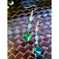 Blue and white w/ snowflake beaded earrings