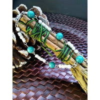 Green Malachite Bracelet with White Seed Bead Accents