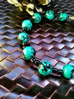 Malachite Beaded Bracelet with Black Seed Bead Accents