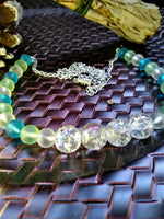 Frosted Blue and Green Necklace with Crackled Glass Accents