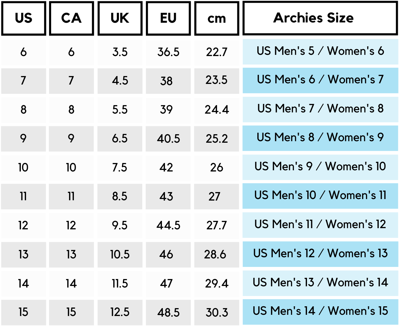 CA Archies Women's Size Chart
