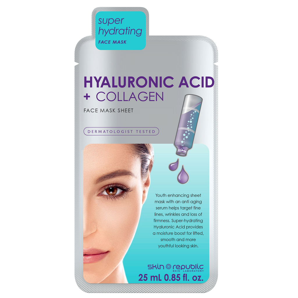 SKIN REPUBLIC - Hyaluronic Acid + Collagen Face Mask Sheet Hyaluronic Acid + Collagen Face Mask Sheet - 25ml