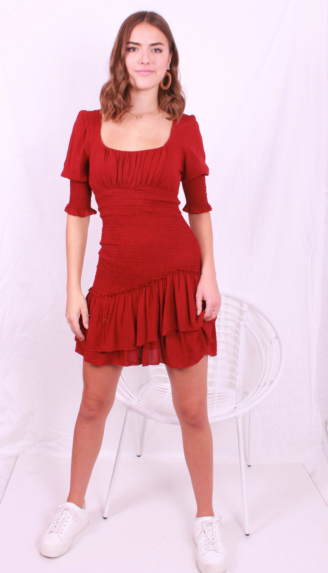 Ruched Dress Wine