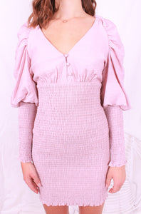 Bubble Sleeve Dress Pink