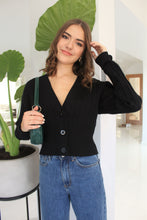 Load image into Gallery viewer, Rib Cardi Black
