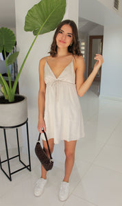 Luxe Satin Dress Nude