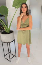 Load image into Gallery viewer, Luxe Satin Dress Khaki
