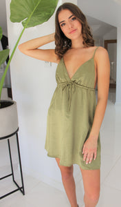 Luxe Satin Dress Khaki