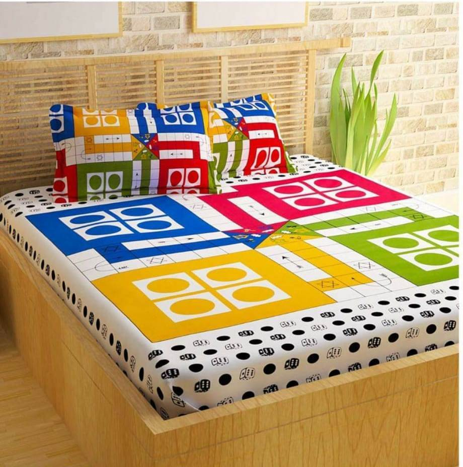 Jaipuri Traditional Ludo Double Bed Bedsheet with 2 Pillow Covers