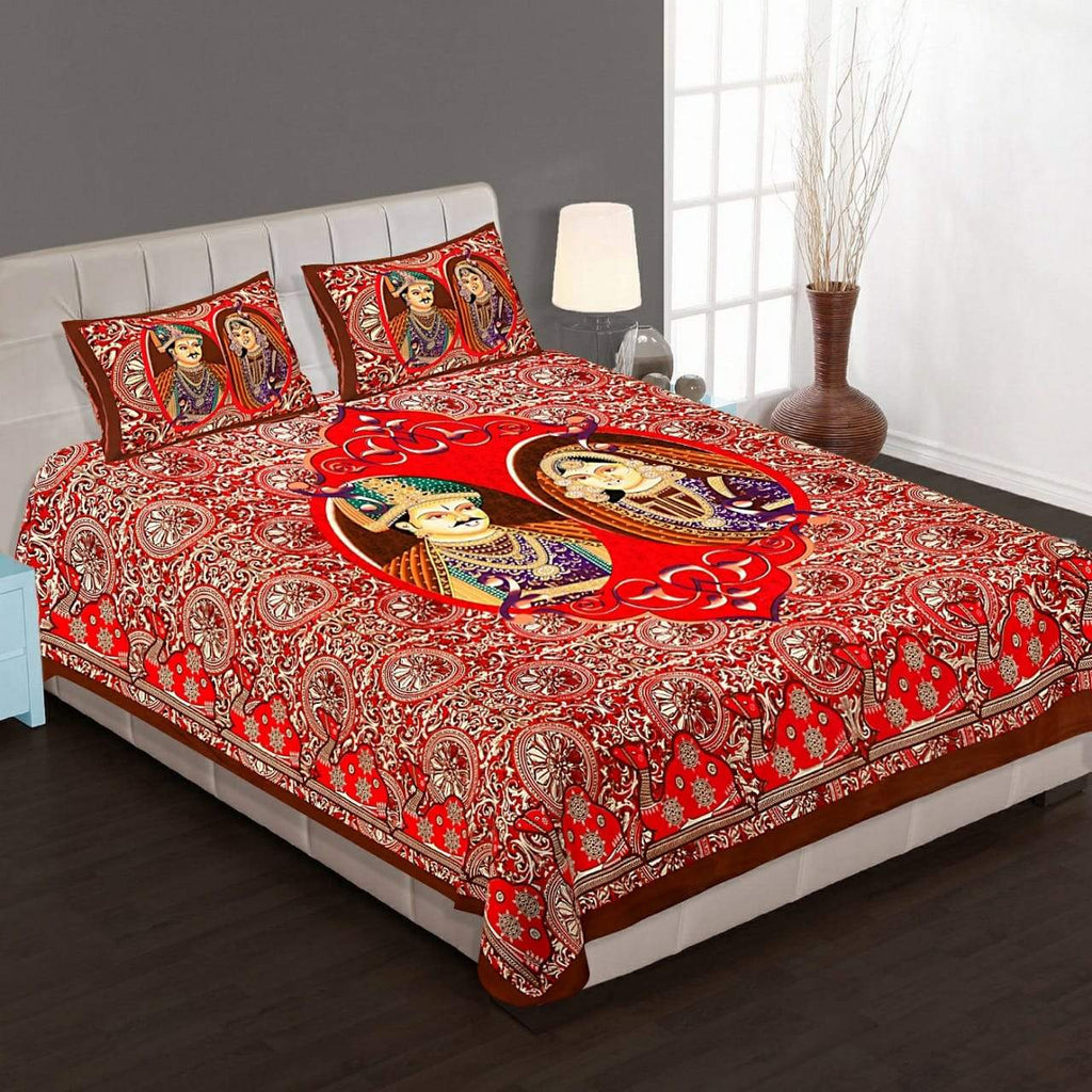 Shopiz Jaipuri Traditional Raja rani Double Bedsheet with 2 Pillow Covers
