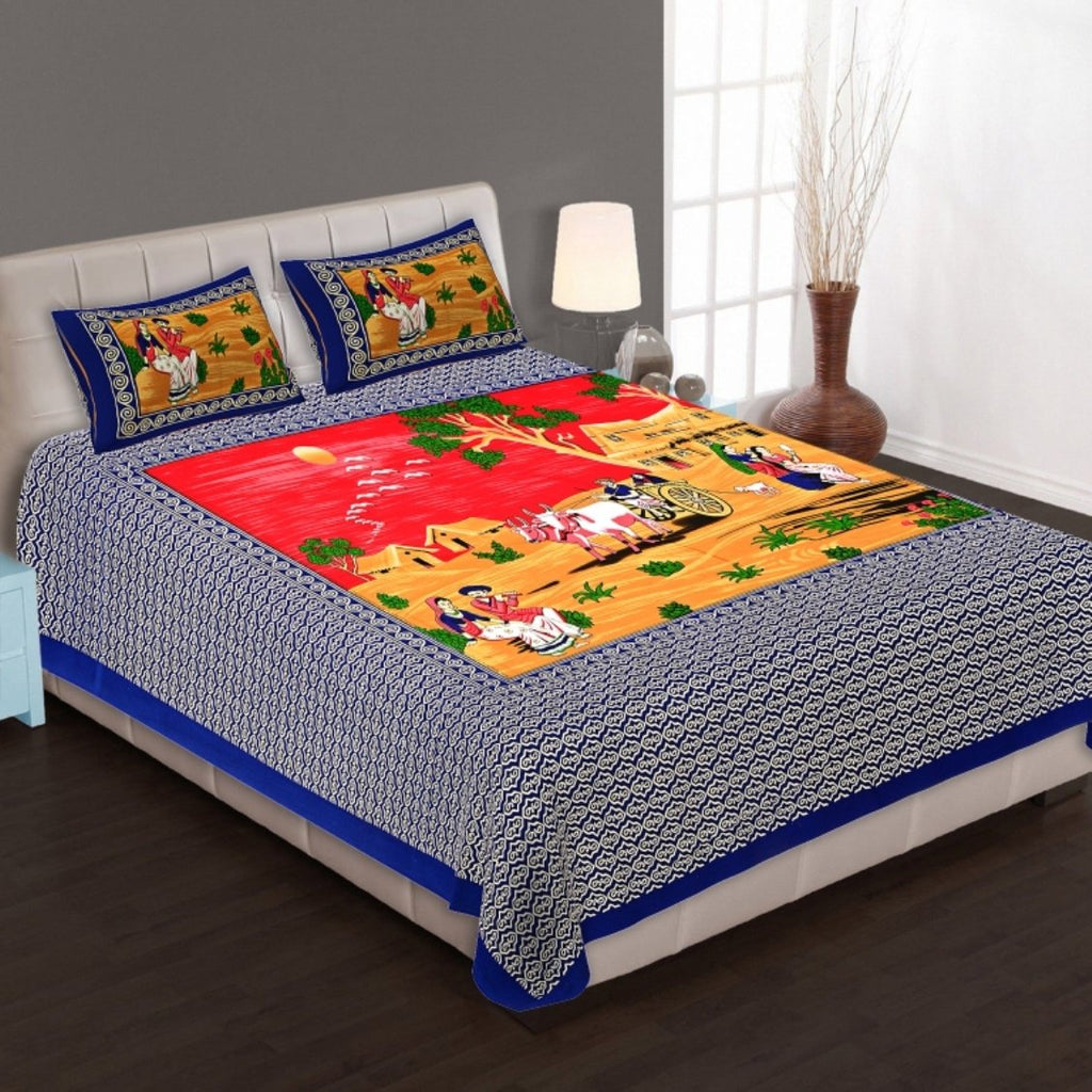 Shopiz Cotton Rajasthani Cart Double Bedsheet with 2 Pillow Cover