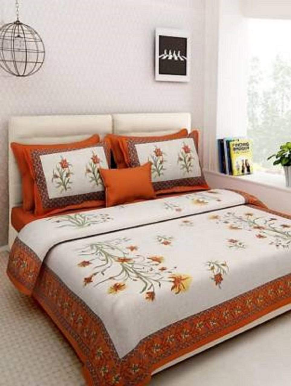 Jaipuri Double Bed Cotton Bedsheet With 2 Pillow Cover