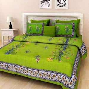 Traditional Jaipuri PrintDouble Bed Sheet with 2 Pillow Covers