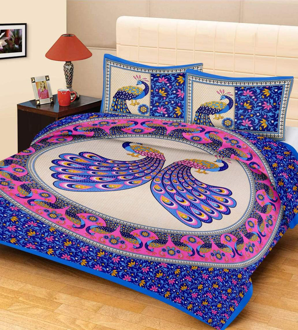 Shopiz Jaipuri Traditional Double Bedsheet with 2 Pillow Covers