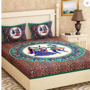 Rajasthani Jaipuri Traditional Sanganeri Print Cotton Double Bedsheet with 2 Pillow Covers