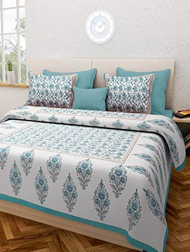 Cotton Rajasthani Jaipuri Double Bedsheet with 2 Pillow Covers - (Double)