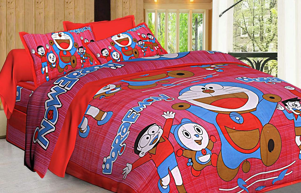 Shopiz Doreamon Double Bed Bedsheet with 2 Pillow Covers