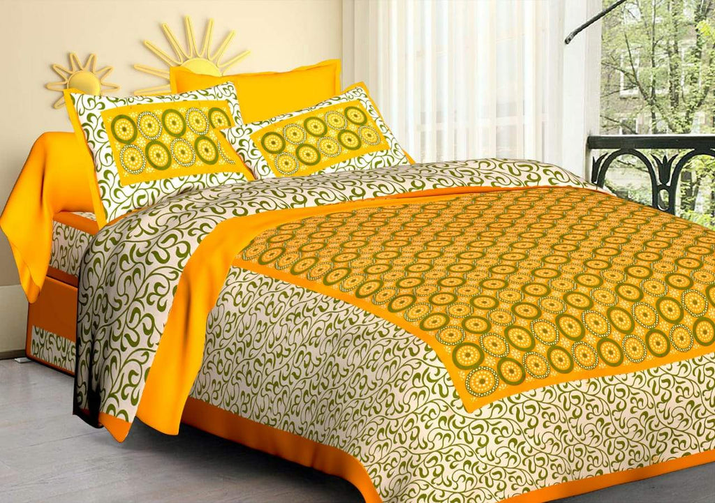 ShopizJaipuri Traditional Double Bedsheet with 2 Pillow Covers