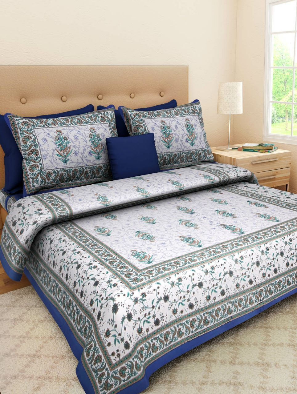 Jaipuri Print Cotton Rajasthani Tradition  Double Bedsheet with 2 Pillow Cover