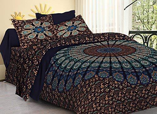 Cotton Mandala Double Bedsheet with 2 Pillow Covers-King Size, Red