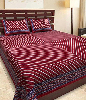 Jaipuri Designer Printed 100% Cotton Double Bedsheet With 2 Pillow Cover(Multicolor.....)