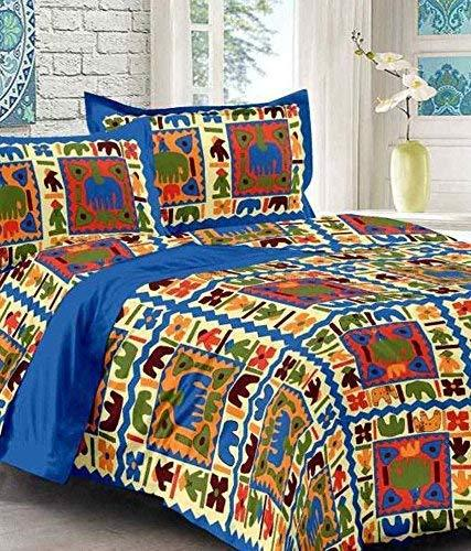 One armor Cotton Rajasthani King sizeBedsheet with 2 Pillow Cover