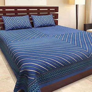 Jaipuri Print 100 % Cotton double Bedsheet with 2 Pillow Covers for Double Bed, Blue
