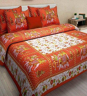 Traditional Rajasthani Cotton Double Bedsheet with 2 Pillow Covers - Orange