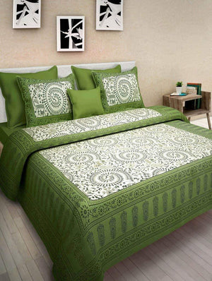 Jaipuri Traditional Double Bed Bedsheet with 2 Pillow Covers