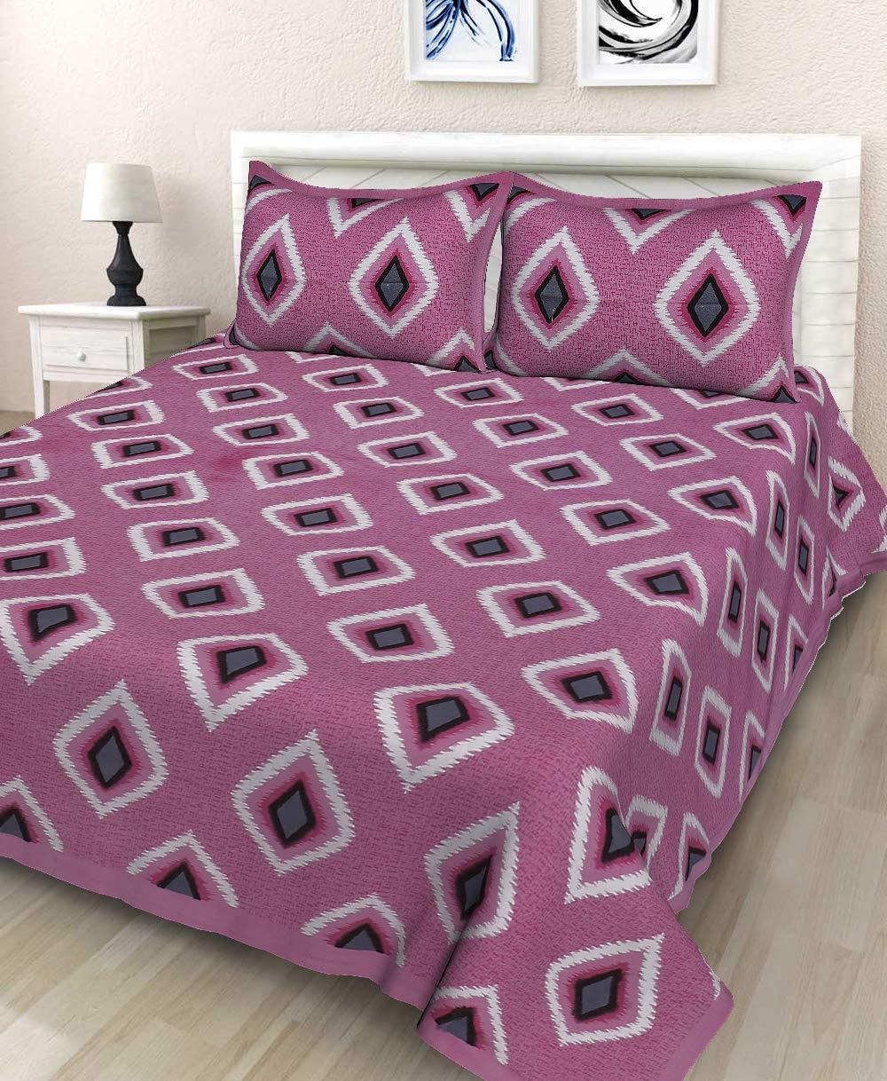 Cotton  Jaipuri Traditional Double Bed Bedsheet with 2 Pillow Covers