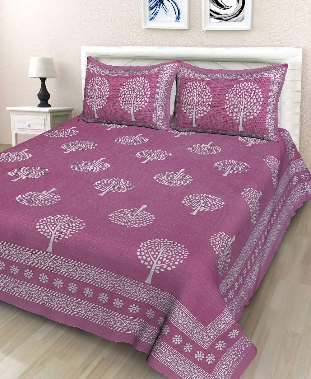 jaipuri Cotton Double BedSheet with 2 Pillow Covers Set
