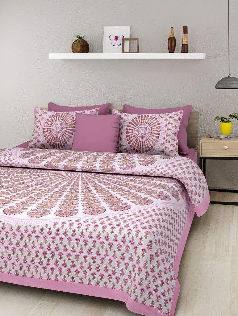 Cotton Comfort Rajasthani Jaipuri Traditional King Size 1 Double Bedsheet with 2 Pillow Covers - Pink