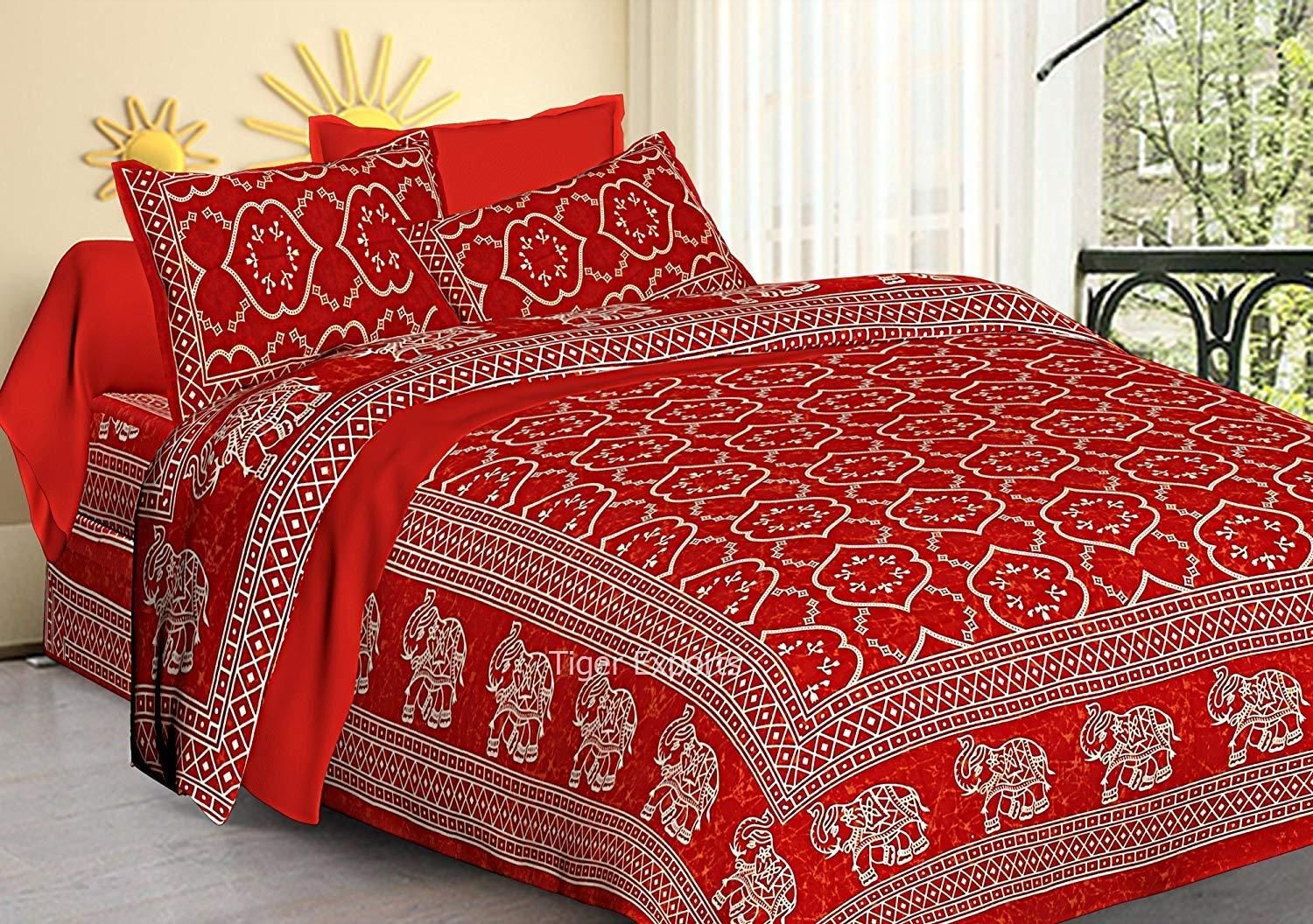 Jaipur Cotton Rajasthani Jaipuri Prints Queen Size Bed Sheets with Pillow Covers