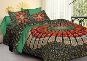 Floral Cotton Double Bedsheet with 2 Pillow Covers, Perfect Green